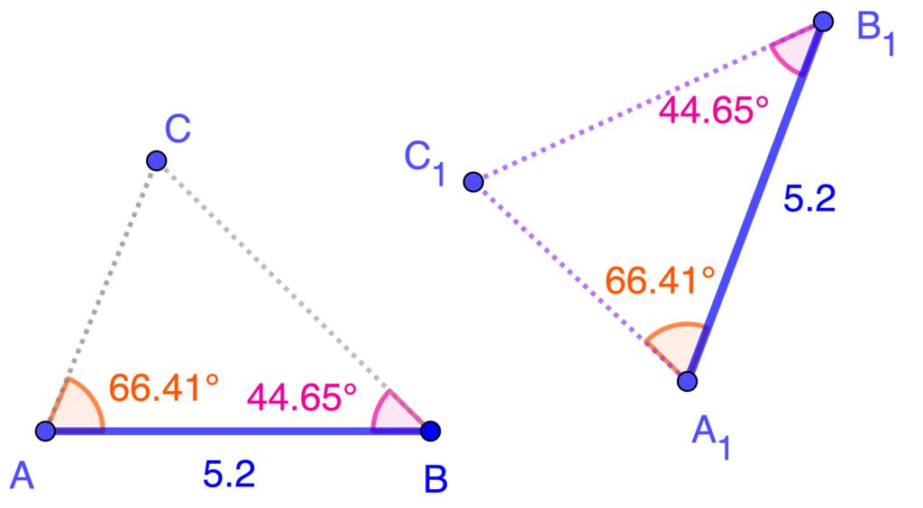 Ejemplo de criterio ALA para triángulos congruentes.