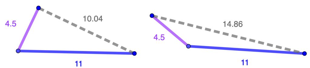 ejemplo de porqué hace falta que todos los lados sean iguales para garantizar la congruencia de dos triangulos.