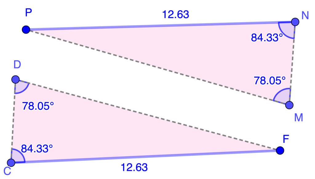 Ejemplo de criterio AAL para congruencia de triángulos