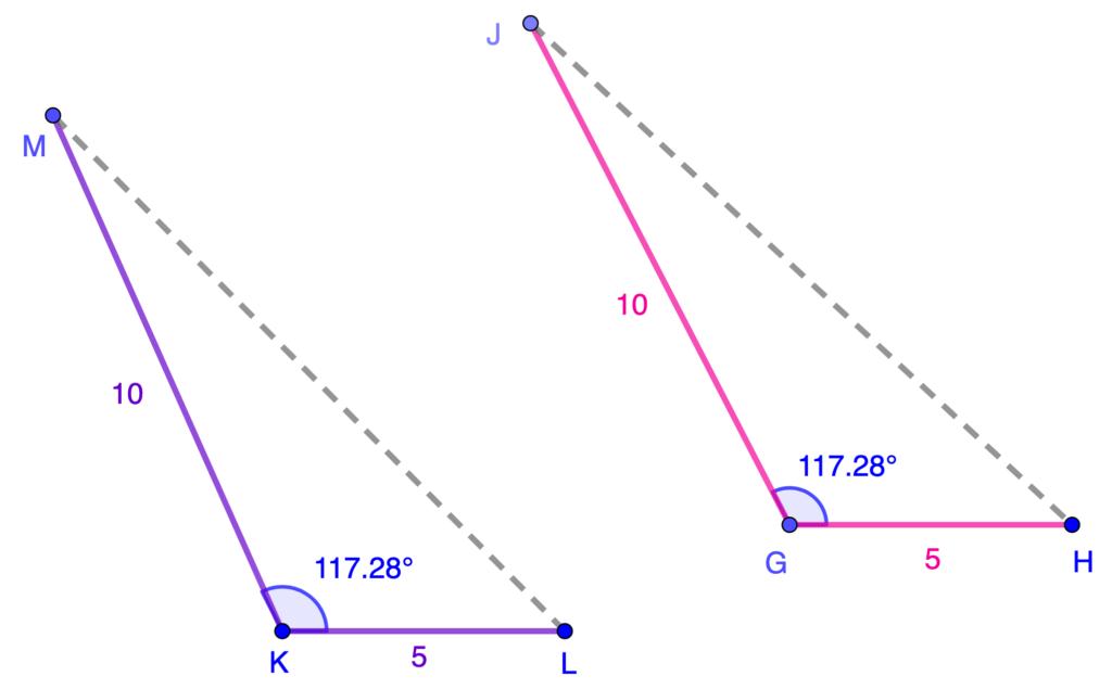 Ejemplos de congruencia de triángulos por el criterio LAL.