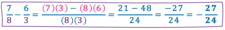ejemplos restas de fracciones