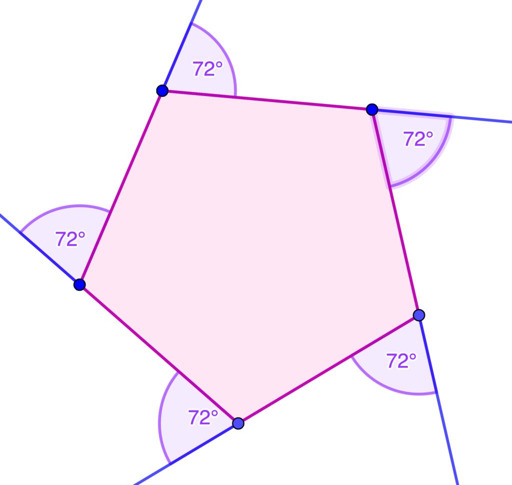 cuanto miden los angulos externos de un pentagono regular