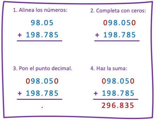 como hacer una suma con decimales